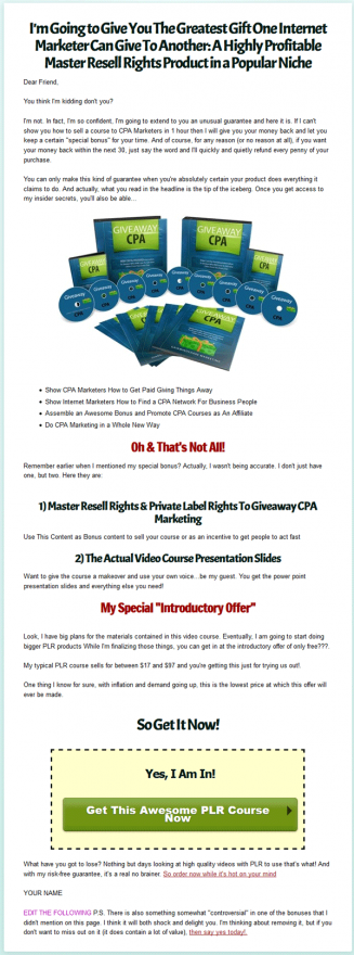 giveaway cpa plr videos