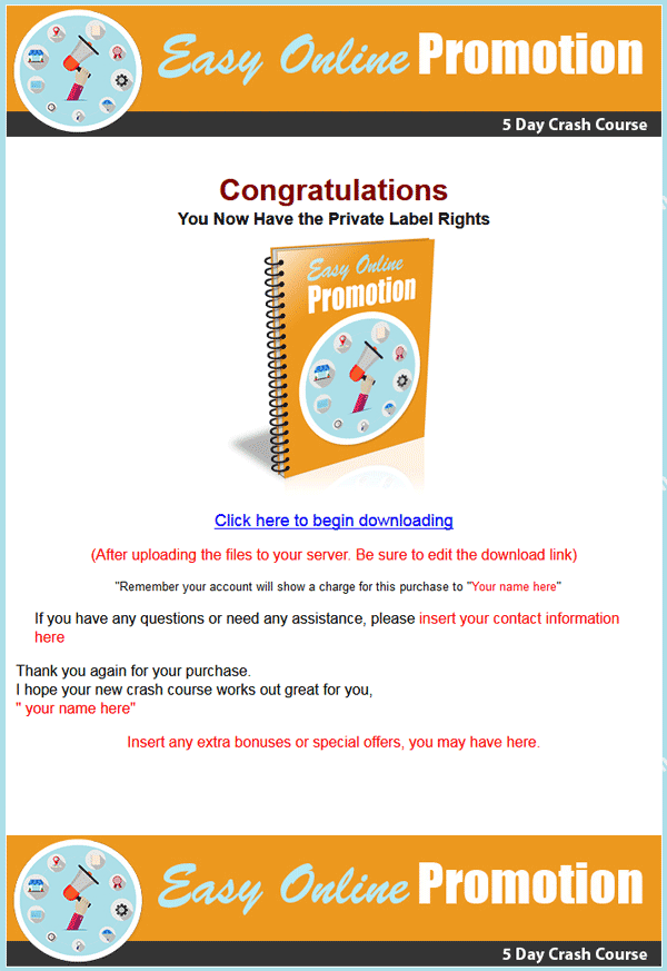 easy online promotional plr autoresponder messages