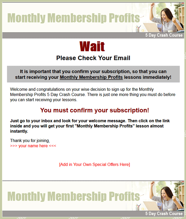 monthly membership profits plr autoresponder messages