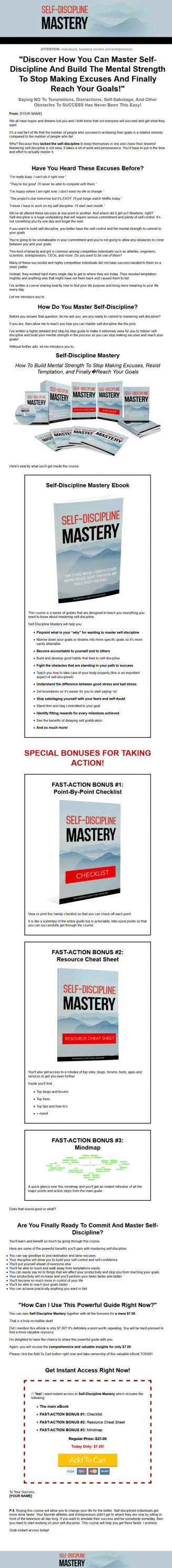 self discipline mastery ebook and videos mrr