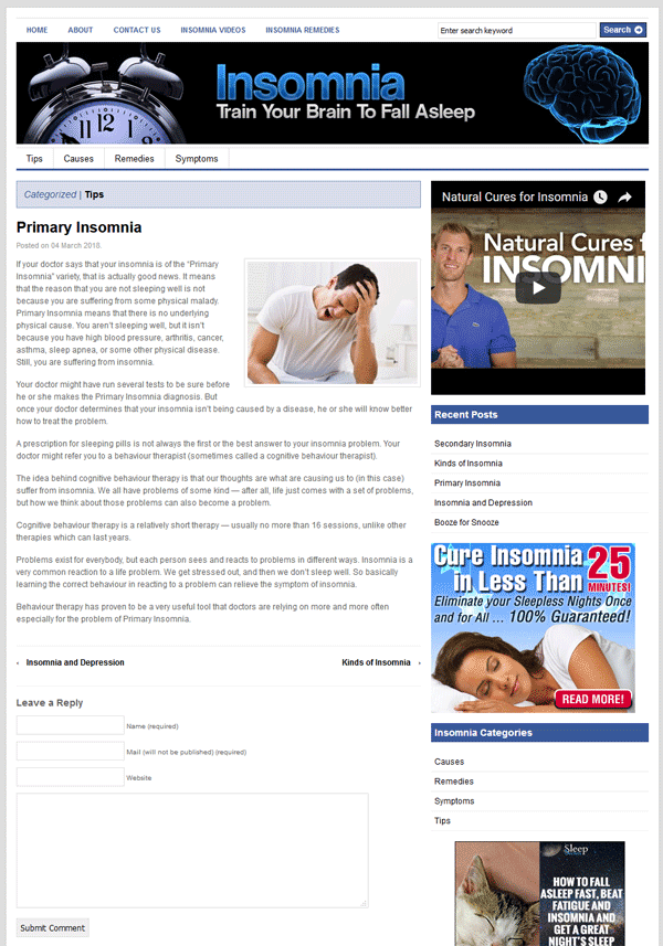 Insomnia PLR Website with Private Label Rights