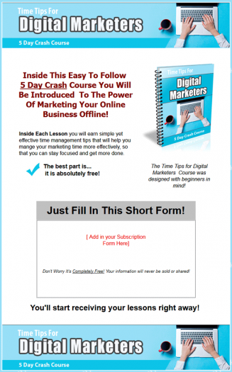 Time Tips For Digital Marketers PLR Autoresponder Messages