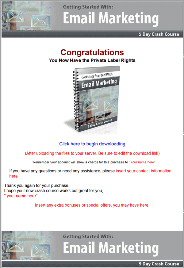 Getting Started With Email Marketing PLR Autoresponder Messages