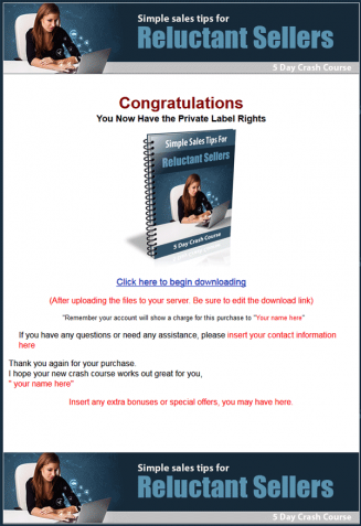 Simple Sales Tips PLR Autoresponder Messages