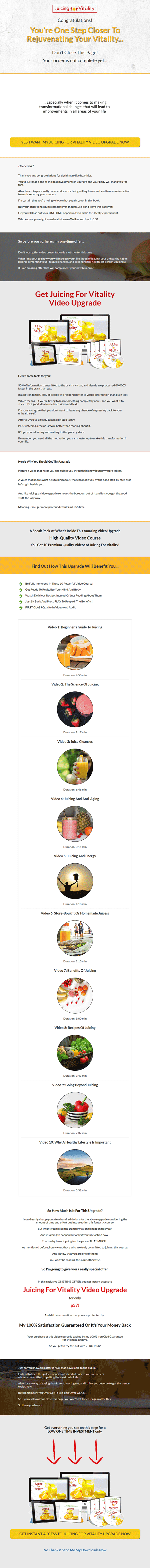 Juicing For Vitality Ebook and Videos