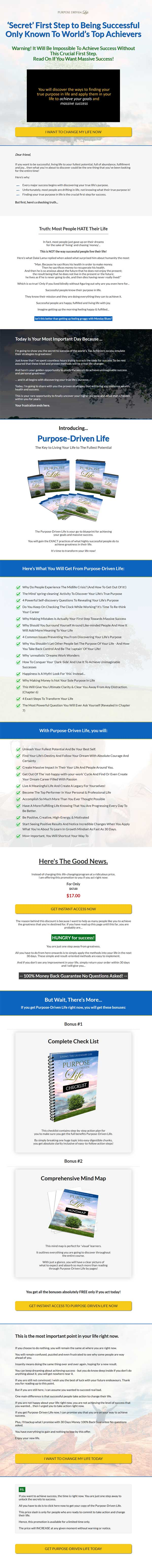 Purpose Driving Life Ebook and Videos MRR