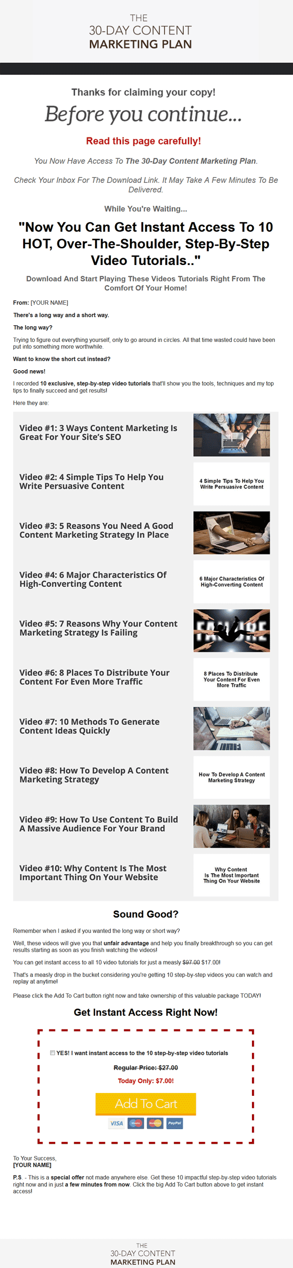 30 Day Content Marketing Plan Ebook and Videos MRR