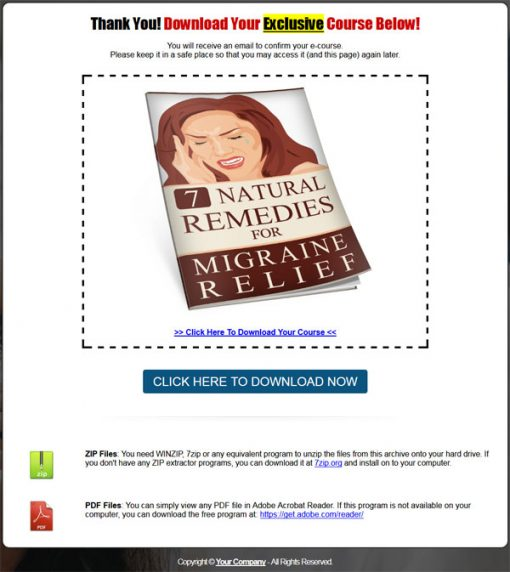 Natural Remedies For Migraine Relief PLR List Building Report