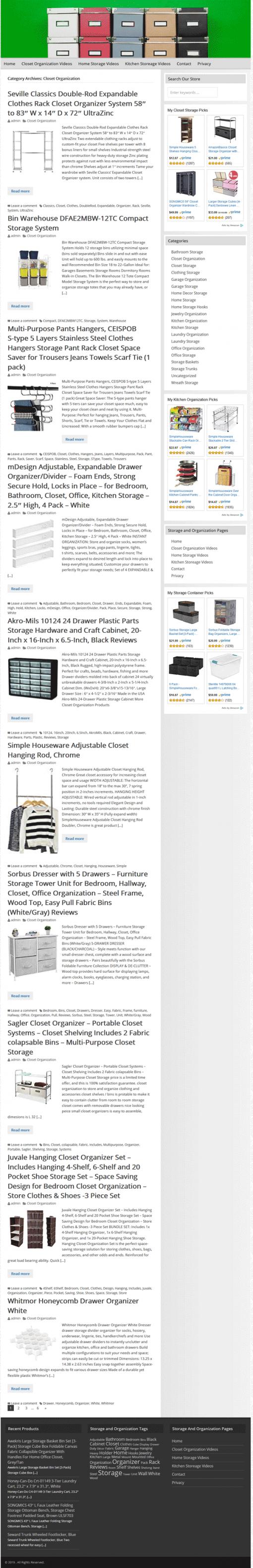 Storage and Organization PLR Website Amazon Store