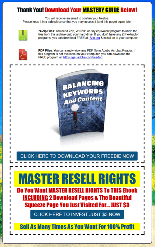 Balancing Keywords and Content Ebook MRR