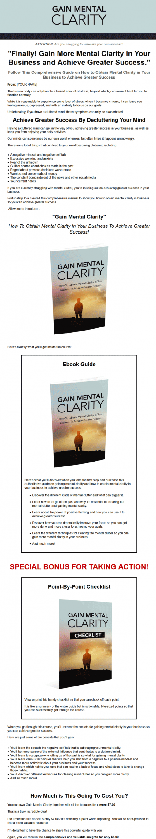 Gain Mental Clarity Ebook with Master Resale Rights