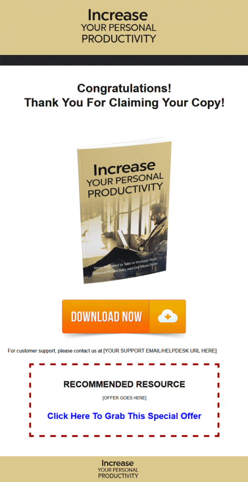 Increase Your Personal Productivity Ebook MRR
