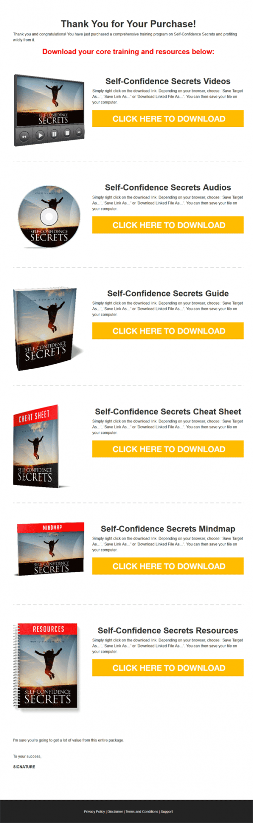 Self Confidence Secrets Ebook and Videos MRR