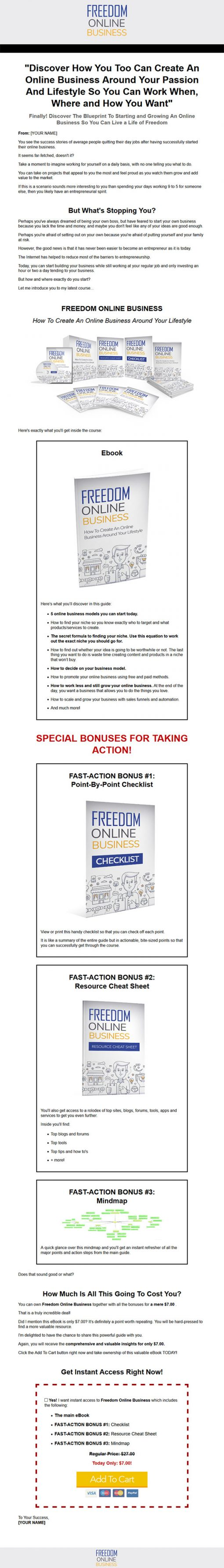 Freedom Online Business Ebook and Videos MRR