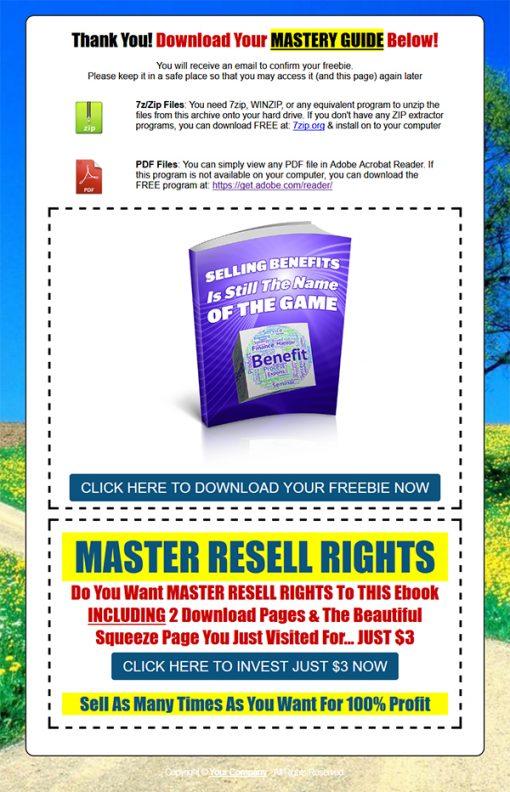 Selling Benefits Ebook MRR