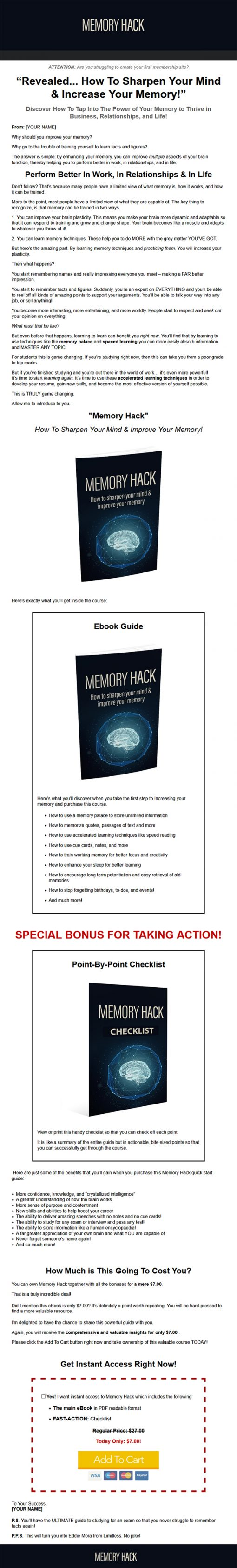 Memory Hack Ebook with Master Resale Rights