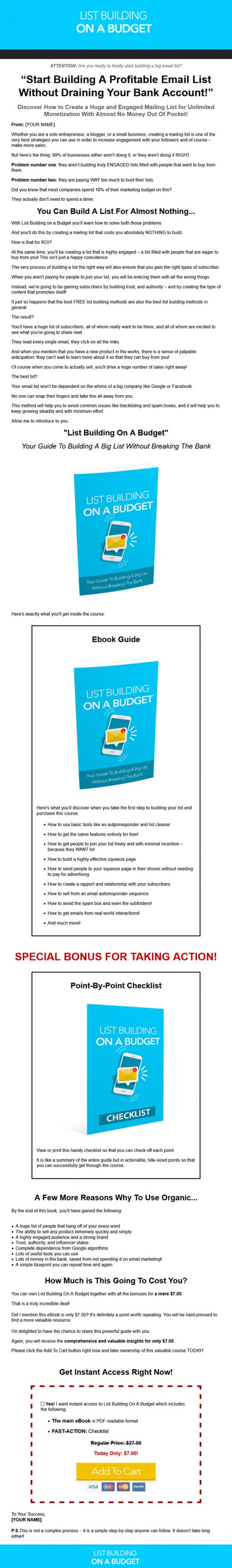 List Building on a Budget Ebook MRR