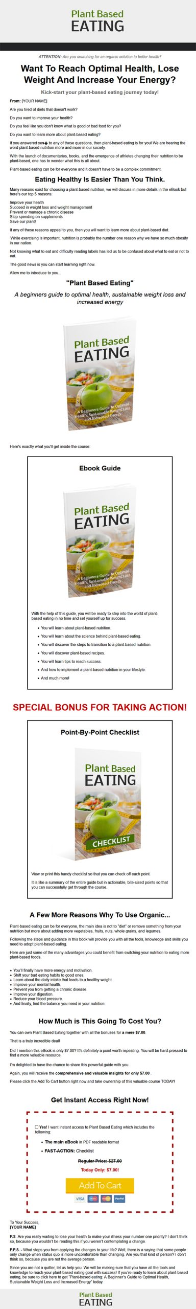 Plant Based Eating Ebook with Master Resale Rights