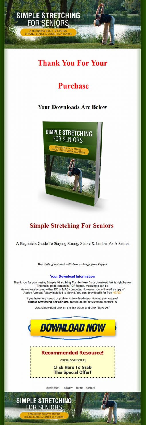 Simple Stretching for Seniors Ebook and Videos MRR