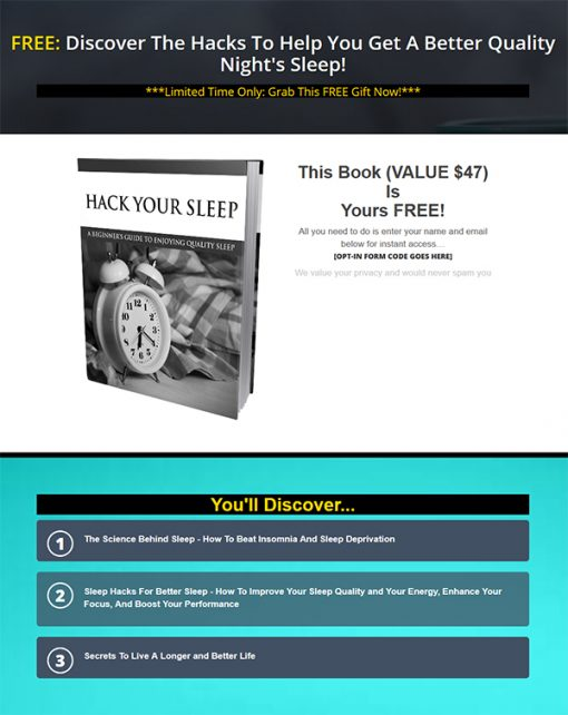 Hack Your Sleep Ebook MRR