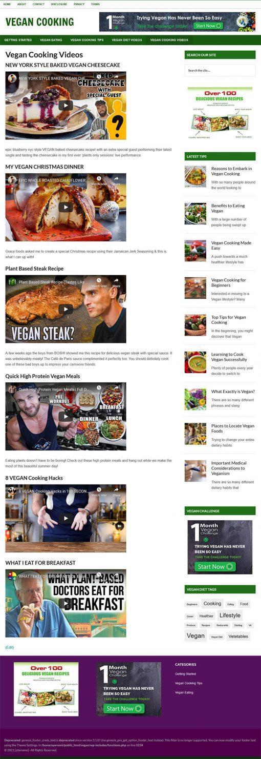 Vegan Cooking PLR Website