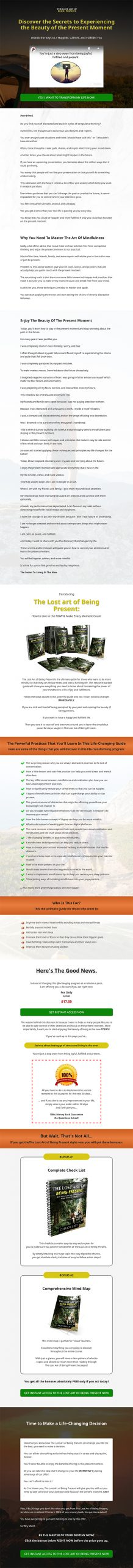 Lost Art of Being Present Ebook and Videos MRR