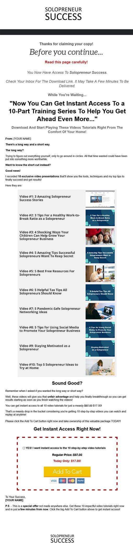 Solopreneur Success Ebook and Videos MRR