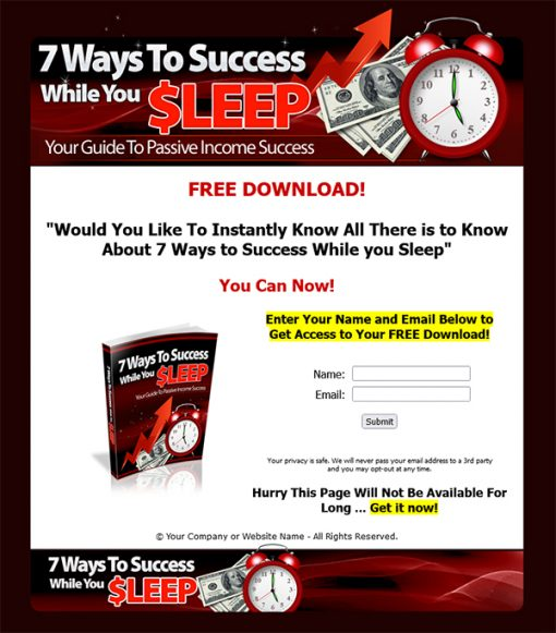 7 Ways to Success While You Sleep Ebook MRR